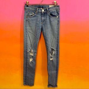 rag & bone/jean • distressed blue capri jeans 26